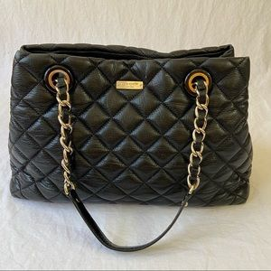 Kate Spade black quilted leather Maryanne tote bag